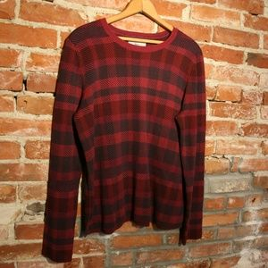 Bass Cotton Blend Plaid Scoop Neck Sweater